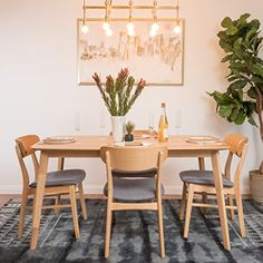 Lucille Mid Century Oak Finish 60 Rectangular 5 Pc Dining Set *** Continue to the product at the image link. (This is an affiliate link and I receive a commission for the sales)