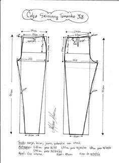 Esquema de modelagem de calça skinny tamanho 38.