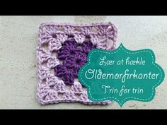 Lær at hækle oldemorfirkanter - YouTube Crochet Waffle Stitch, Crochet Square Blanket, Granny Square Crochet Pattern, Crochet Squares, Crochet Wreath, Crochet Crafts, Crochet Projects, Crochet Pillow Pattern, Crochet Stitches