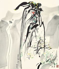 Wu Guanzhong (1919-2010) SUMMIT OF MOUNT HUANG.吳冠中 (1919-2010) 喜鵲登梅 設色紙卡 鏡框 一九八六年作 款識: 吳冠中。北京。86。 黃山名峰喜鵲登梅。康嗣同先生中國之紀念。吳冠中。一九八八年十二月。(題於畫背) 鈐印:「荼」。 52.4 by 45 cm. 20 5/8 by 17 3/8 in.