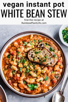 Instant Pot White Bean Stew (Vegan, GF) A dump-and-go Instant Pot recipe that's perfect for busy weeknights. This Israeli White Bean Stew is great for meal prep and is freezer-friendly. Vegan and Gluten-Free. Whole Food Recipes, Soup Recipes, Cooking Recipes, Healthy Recipes, Crockpot Recipes, Healthy Bean Recipes Vegetarian, One Pot Recipes, Instapot Vegetarian Recipes, Gluten Free Vegan Recipes Dinner