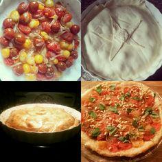 Tarte tatin met gecaramelliseerde tomaatjes en sjalotten. Om af te maken: geroosterde pijnboompitjes, basilicum en pamezaanse kaas. Made by Annet Brons.