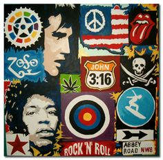 This 'History of Rock' from Ithaca Audio spans 348 rockstars, 84 guitarists, 64 songs, and 44 drummers from Elvis Presley on through The White Stripes… Rock N Roll Music, Rock And Roll, Rock & Pop, Black And White People, The White Stripes, Modern Art Paintings, Hippie Art, Rock Legends, Music Icon