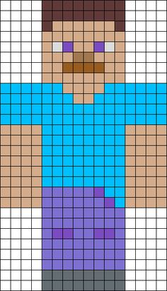 Steve From Minecraft - this could be done with graph paper and incorporate math and symmetry etc. plot, copy pattern with perler beads, fuse Steve Minecraft, Minecraft Beads, Minecraft Quilt, Minecraft Pattern, Minecraft Pixel Art, Minecraft Crafts, Minecraft Crochet, Minecraft Buildings, Minecraft Skins