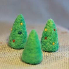 Set of 3 Mini Christmas Trees - Felt Holiday or Dollhouse Decoration. Fiber Friends