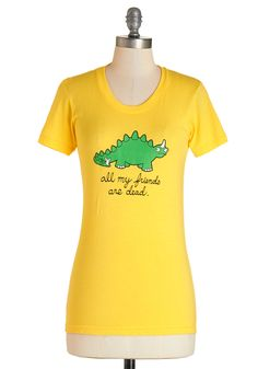 Cry-ceratops Tee in Yellow. You'd cry, too, if extinction happened to you and all your paleo pals! #yellow #modcloth