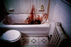 Decorate the Bathroom for Halloween: Keep the shower curtain closed & scare the hell out of all the snoopers!