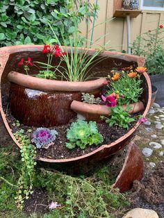 Garden Fun, Garden Pots, Garden Ideas, Broken Pot Garden, Chicken Barn, Garden Container, Flower Pots, Flowers, Enchanted Garden