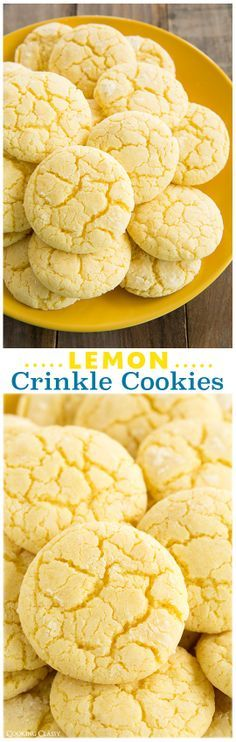 Lemon Crinkle Cookies (from scratch) - these are definitely a new favorite! I couldn't stop eating these! So lemony and their texture is amazing. They just melt in your mouth when they are warm out of the oven. I love lemon desserts Lemon Desserts, Lemon Recipes, Just Desserts, Sweet Recipes, Baking Recipes, Cookie Recipes, Delicious Desserts, Dessert Recipes, Holiday Baking