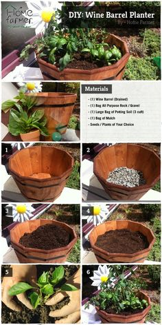 Materials: 1 Wine Barrel (drained) 1 Bag Of All Purpose Rock/gravel 1 Large  Bag Of Potting Soil Oz.) 1 Bag Of Mulch Plants Of Your Choice How To: Pi