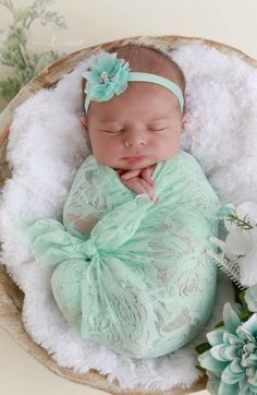 Mint stretch kace wrap AND/OR matching floral headband for newborn photos, baby swaddle, bebe, foto,… – Newborn About