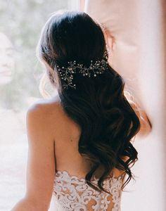 Vid de pelo nupcial, vid pequeña pelo perla y cristal, delicada, Gyp cabello vine, vine de pelo de boda boho, tocado de novia, novia Bohemia,