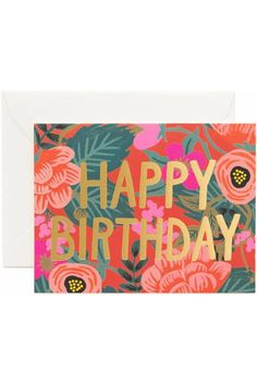 """This pretty birthday card features pink poppies and green leaves over a red background. The words """"HAPPY BIRTHDAY"""" are boldly printed in gold foil. It has a festive look perfect for the celebration. The set includes eight cards with envelopes, and these are the A2 format, so each card is 4.25"""" by 5.5"""". The interior is blank.   Poppy Birthday Cards by Rifle Paper Company. Home & Gifts - Gifts - Stationery & Office Boulder, Colorado"""