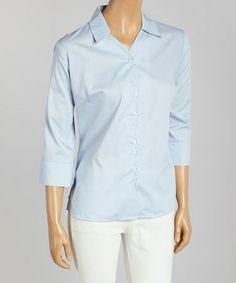 This Light Blue Poplin Three-Quarter Sleeve Button-Up - Women & Plus by Jockey is perfect! #zulilyfinds