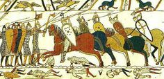 The Bayeux Tapestry depicts the events leading up to the Battle of Hastings on October 14th, 1066. The section reproduced above represents part of the battle itself, with Norman cavalry attacking the Anglo-Saxon shield wall.