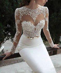 La nouvelle mariée en dentelle robe de taille / personnalisé manches longues Sli