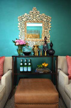 Dalliance Design - living rooms - teal walls, teal living room walls, gold mirror  mini bar