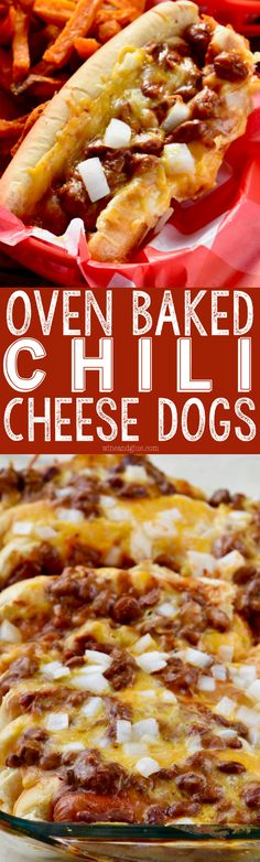 These Oven Baked Chili Cheese Dogs are such a great way to feed a crowd! Easy to throw together and totally delicious!