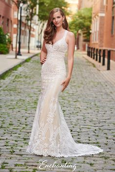 Stunning Beaded Lace and Tulle Sheath Wedding Dress from Enchanting by Mon Cheri - 120172 Mon Cheri Wedding Dresses, Bridal Dresses, Wedding Gowns, Bridesmaid Dresses, Fit N Flare, Lace Gown Styles, Wedding Lounge, Different Dresses, Wedding Dress Shopping