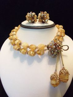 VENDOME Vintage 1950s  Necklace Earrings Set by AnnesGlitterBug, $200.00