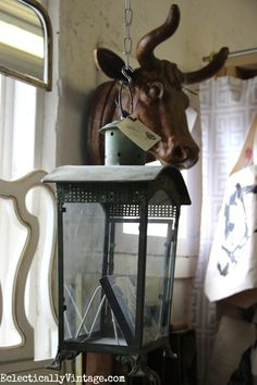 Bull head sculpture eclecticallyvintage.com