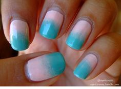 Blue to pink gradient nails.