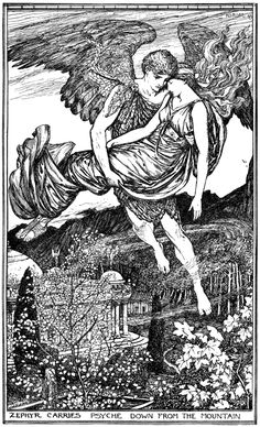 Henry Justice Ford 'Zephyr carries Psyche down from the Mountain' from The Red Romance Book by Andrew Lang