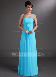 Empire Floor-Length Chiffon Bridesmaid Dress With Ruffle (007001101)