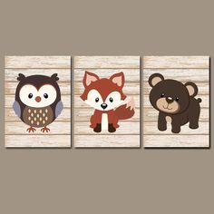 WOODLAND Animal Wall Art Fox Owl Bear Shiplap Wood Effect