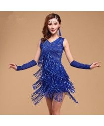 Black red fuchsia royal blue colored women's ladies female competition sequins paillette tassels double shoulder v neck latin samba salsa cha cha dance dresses