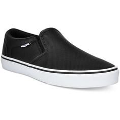 Vans Men's Asher Perforated Slip-on Sneaker ($55) ❤ liked on Polyvore featuring men's fashion, men's shoes, men's sneakers, black, mens slipon shoes, mens slip on sneakers, mens sneakers, mens leather slip on shoes and mens black sneakers