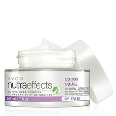 This product is Gluten Free. BENEFITS:  • Free of parabens, phthalates and dyes • Hypoallergenic • Dermatologist-Tested • Suitable for sensitive skin • Clinically shown to boost moisture in skin • Provides 48 hours of hydration • Suitable for dry and normal skin types • Lightweight • Absorbs quickly • Non-greasy/oily and non-sticky/tacky Direct Delivery Only nutraeffects Ageless Day Cream Broad Spectrum SPF 20 http://cbrenda007.avonrepresentative.com