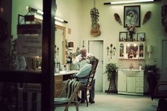 The Barber Shop of Mr. Nikos Zoumboulakis in Spetses Island Greece