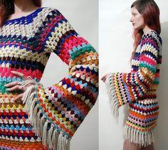 Gehaakte jurk kleurrijke streep Fringe oma Square Flare Bell