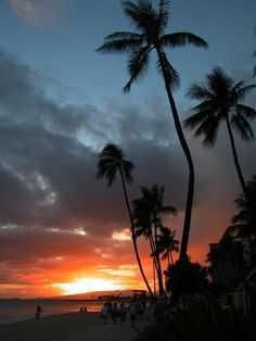Waikiki ...no kidding, it really looks like this at sunset...my favorite time to go there....it is cooler and the people are sparse...