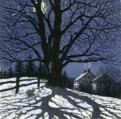 Winter Landscapes Clear Winter Night 7 Carol Collette Art is part of Winter art - Limited Edition Watercolor and Etching Image Size 7 Maine Winter Szenen, Clear Winter, Winter Night, Winter Moon, Winter Trees, Cold Night, Vermont Winter, Winter Landscape, Landscape Art