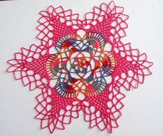Crochet Doily with Flower design - Spring Home decor - Pink flower doily - Eester decor Gift - Homemaker gift - Hostess gift - Home decor by ElenisCrochet on Etsy