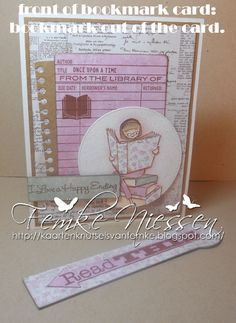 made by femke niessen. a bookmark card for MFTWSC133. used several dienamics,  the library and the ALM here's the story stamps . on this picture the bookmark is out of the card.