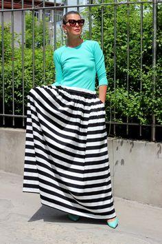 Black and White Striped Maxi Skirt Long by cherryblossomsdress