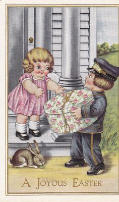 A Joyous Easter 1920s Vintage Postcard Unused by EphemeraObscura