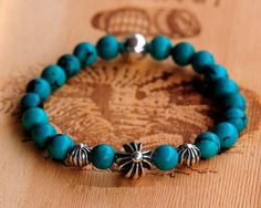 4 Silver Balls Turquoise Chrome Hearts Beads Bracelet