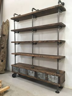 Industrial Gas Pipe & Characterful Old Timber Display Shelves Metal Drawer Unit Pipe Furniture, Vintage Furniture, Vintage Industrial, Industrial Style, Industrial Wall Shelves, Industrial Lamps, Industrial Furniture, Retail Display Shelves, Timber Planks