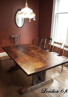 Reclaimed wood harvest table with epoxy polyurethane for Post trestle farm table plans