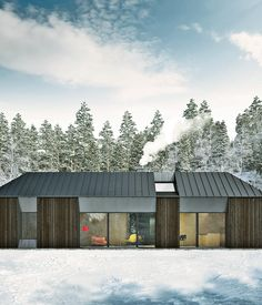 The roofline of the Tind house prototype, designed by Claesson Koivisto Rune for prefab company Fiskarhedenvillan, has more conventional Swedish gables than the flat-roofed modernism of typical prefab units. Images courtesy Claesson Koivisto Rune.