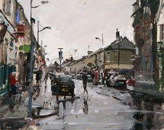 "Clifton Street, Rain 1 Oil - 8"" x 10"". By Peter Brown"