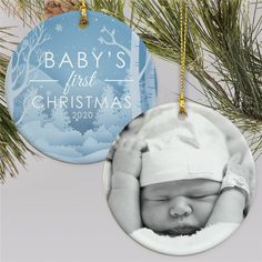 Give the new parents a truly unique gift for baby's first Christmas with a double sided ornament personalized with your favorite photo of the new member of the family. #babysfirstchristmas #personalizedphotoornaments #christmasornaments #Christmasgiftideas Photo Christmas Ornaments, Baby First Christmas Ornament, Baby Ornaments, Babies First Christmas, Christmas Gifts, Personalized Photo Ornaments, Personalized Baby, First Christmas Photos, Baby Gifts