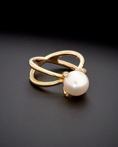 "Nanis ""Bon-Bon"" 18K 8mm Freshwater Pearl & Diamond Ring is on Rue. Shop it now."