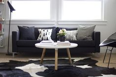 Scandi inspiration. Still think the fresian cow hide is a little obvious and a more subtle/delicate animal print would be better, and that the obligatory Eames chair is missing, god damn it!