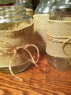 RESERVED Burlap Mason Jars for Kaley by popcornandpeonies on Etsy, $3.00