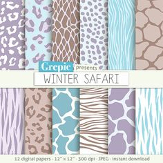 "Animal print digital paper: ""WINTER SAFARI"" blue zebra print tiger skin lilac giraffe leopard patterns winter colors animal skin #clipart #grepic"